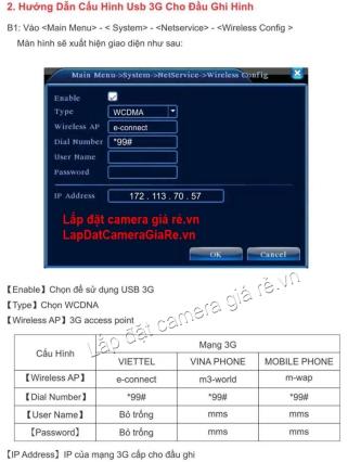 Huong dan cai dat USB 3G cho dau ghi camera - VDTech Cloud 3